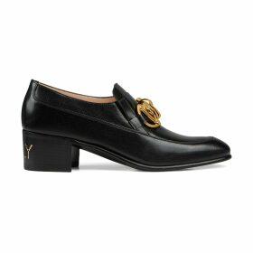 Women's leather Horsebit chain loafer