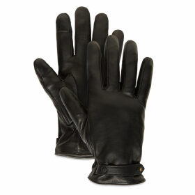 Timberland Leather Touchscreen Gloves For Women In Black Black, Size S