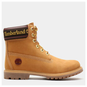 Timberland 6 Inch Logo Collar Boot For Women In Yellow Yellow, Size 9