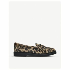 Leopard-print suede loafers