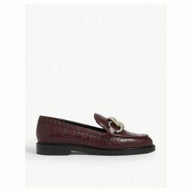 Croc-embossed leather loafers