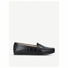 City Gommino crocodile-embossed leather loafers