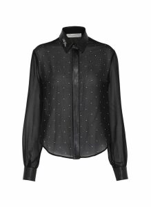 Faux leather collar strass front georgette shirt