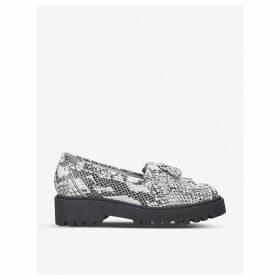 Klarke snakeskin print leather tassel loafers