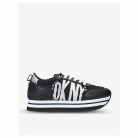 Panya faux-leather and textile trainers