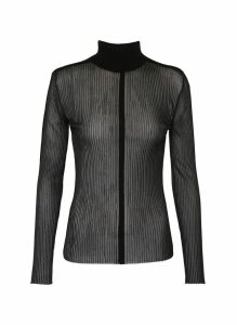 'Outline Skivvy' sheer rib knit turtleneck top