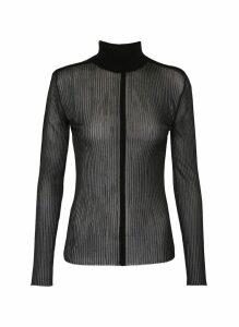 'Outline Skivvy' sheer rib knit turtleneck top