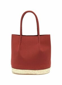 'Nousnous' straw panel small canvas tote