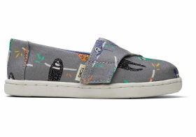 Sloths Canvas Tiny TOMS Classics Slip-On Shoes - Size UK6