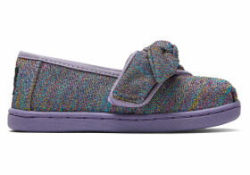 Drizzle Grey Multi Glimmer Woven Bow Tiny TOMS Classics Slip-On Shoes - Size UK8