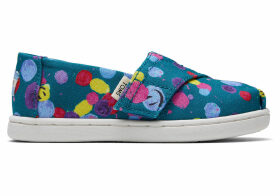 Deep Lake Happy Dot Print Tiny TOMS Classics Slip-On Shoes - Size UK5