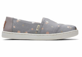 TOMS Drizzle Grey Party Dots Youth Classics Slip-On Shoes - Size UK3