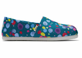 TOMS Deep Lake Happy Dot Print Youth Classics Slip-On Shoes - Size UK5