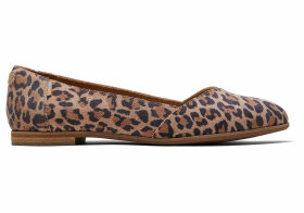 TOMS Desert Tan Leopard Print Suede Women's Julie Flats Shoes - Size UK6