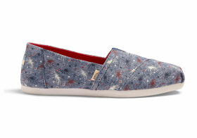 TOMS Glow In The Dark Fireworks Canvas Women's Classics Ft. Ortholite Slip-On Shoes - Size UK8