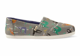 TOMS Sloths Canvas Women's Classics Ft. Ortholite Slip-On Shoes - Size UK3.5