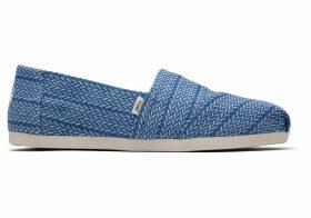 TOMS Vintage Blue Large Herringbone Woven Women's Classics Ft. Ortholite Slip-On Shoes - Size UK7.5