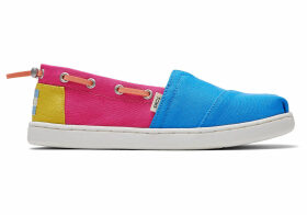 TOMS Pink Blocked Canvas Youth Bimini Espadrilles Shoes - Size UK4.5