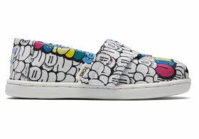 White Bubble Print Tiny TOMS Classics Slip-On Shoes - Size UK9