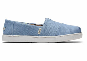 TOMS Powder Blue Heritage Canvas Youth Classics Slip-On Shoes - Size UK11.5
