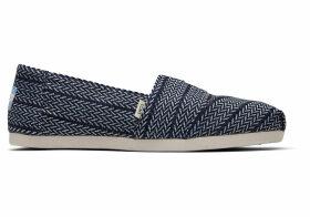 TOMS Navy Large Herringbone Woven Women's Classics Ft. Ortholite Slip-On Shoes - Size UK8