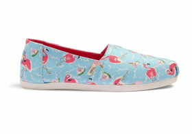 TOMS Flamingo Party Glitter Watermelon Canvas Women's Classics Ft. Ortholite Slip-On Shoes - Size UK10