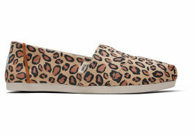 TOMS Desert Tan Leopard Printed Microfiber Women's Classics Ft. Ortholite Slip-On Shoes - Size UK7