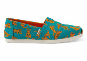 TOMS Deep Teal Tigers Canvas Women's Classics Ft. Ortholite Slip-On Shoes - Size UK3