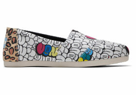 TOMS Bubble Graffiti Printed Canvas Women's Classics Ft. Ortholite Venice Collection Slip-On Shoes - Size UK6