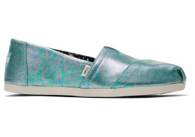 TOMS Black Pearlized Canvas Women's Classics Slip-On Shoes - Size UK7