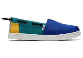 TOMS Blue Blue Blocked Heritage Canvas Youth Bimini Espadrilles Shoes - Size UK12.5
