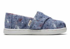 Glow In The Dark Fireworks Canvas Tiny TOMS Classics Slip-On Shoes - Size UK5