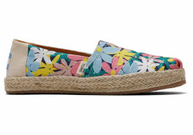 TOMS Giant Flowers Print Rope Youth Classics Slip-On Shoes - Size UK5 in Multicolor