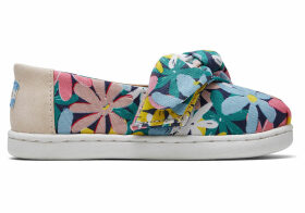 Multi Giant Flowers Print Bow Tiny TOMS Classics Slip-On Shoes - Size UK9 in Multicolor