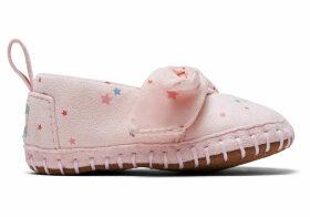 Ballet Pink Star Print Microsuede Tiny TOMS Crib Alpargatas Shoes - Size UK1.5