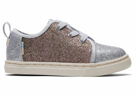 Silver Gold Iridescent Glimmer Tiny TOMS Lenny Elastic Sneakers Shoes - Size UK9