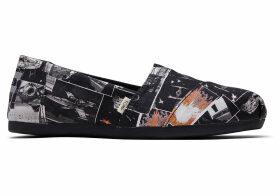 TOMS Black Star Wars Darth™ Print Women's Classics Ft. Ortholite Slip-On Shoes - Size UK4