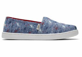 TOMS Glow In The Dark Fireworks Canvas Youth Classics Slip-On Shoes - Size UK11.5