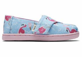 Flamingo Party Glitter Watermelon Canvas Tiny TOMS Classics Slip-On Shoes - Size UK10