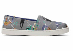 TOMS Sloth Canvas Youth Classics Slip-On Shoes - Size UK3.5