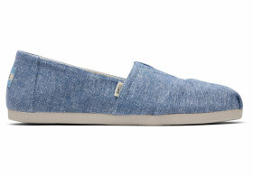 TOMS Blue Slub Chambray Women's Classics Ft. Ortholite Slip-On Shoes - Size UK7.5