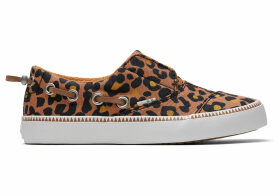 TOMS Toffee Cheepard Print Youth Pasadena Slip-Ons Shoes - Size UK4.5