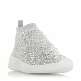 Dune Emerald Crystal Silver Embellished Sock Trainers