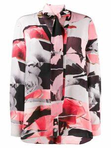 Alexander McQueen rose-print silk top - PINK