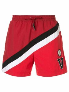 Ports V stripe logo swim shorts - Red
