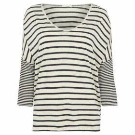 Repeat Cashmere Stripe three quarter sleeve jersey top