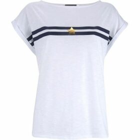 Mint Velvet White Varsity Star Stripe Tee