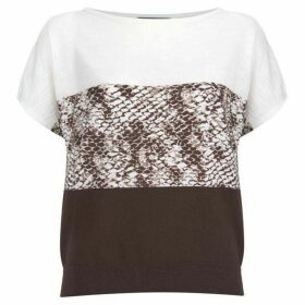Mint Velvet Chocolate Snake Print Knit Tee