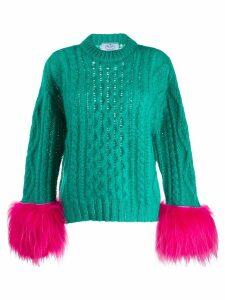 Prada feather sleeve jumper - Green