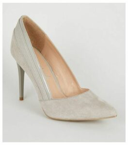 Grey Suedette Mixed Finish Court Shoes New Look